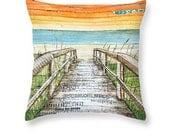 Beach Dock Sunrise throw ART PILLOW, Portland Maine, home decor pillow, housewares, summer gift for her, Christmas gift, coastal decor gift