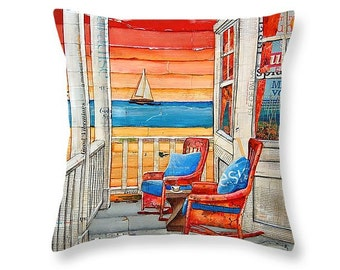 Front Porch rocking chairs & sailboat at beach throw ART PILLOW, home decor pillow, housewares, summer, mixed media, collage