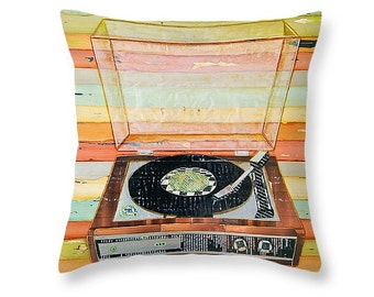 Vintage Retro Record Player throw ART PILLOW, Portland Maine, home decor pillow, summer gift for her, Christmas gift, coastal decor gift