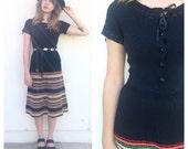 Vintage 70s Black Crochet Striped Midi Dress