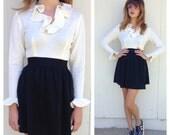 Vintage 60s Mod Black and White Ruffle Mini Dress