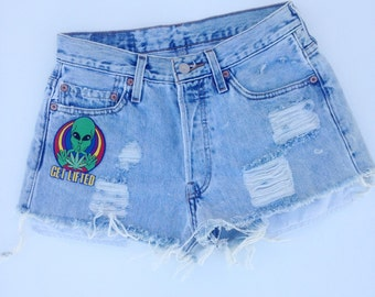 Vintage Get Lifted Denim Cut Off High Waisted Shorts 29