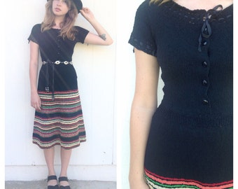 Vintage 70s Black Crochet Striped Midi Dress
