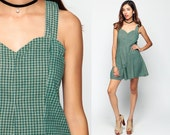 Romper Dress 90s Grunge Wide Leg Playsuit PLAID Jumpsuit SWEETHEART Neckline 1990s Onesie One Piece Vintage Summer Boho Green Small