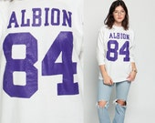 Retro T Shirt NUMBER 84 Tee Albion Football Jersey 80s TShirt Sports Athletic Shirt Vintage 1980s Long Sleeve Purple White Large