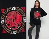 90s Sweatshirt WALES Shirt CYMRU Retro Celtic Dragon Shirt Hipster Slouchy Jumper Pullover 1990s Graphic Travel Vintage Black Large