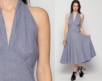 50s Halter Dress Blue Gingham Print BOMBSHELL Pin up 1950s SunDress Cotton Tea Length Midi 1960s Vintage Deep V Neck Sun Large