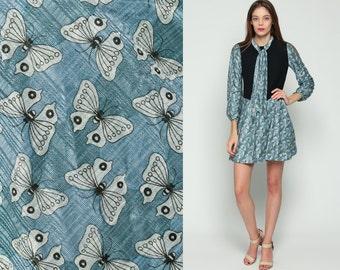 Butterfly Dress 60s Mod Mini ASCOT Necktie Novelty Print 70s Low Waist Blue White Vintage Long Sleeve Sixties Preppy MiniDress Small