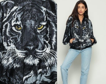 Tiger Jacket 90s Windbreaker Bomber Jacket Animal Print Face 80s Baseball Oversized Hipster Vintage Women Novelty Black Extra Large xl