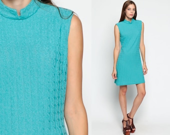 60s Shift Dress Mandarin Collar Mod Mini Turquoise Blue CABLE KNIT 1960s Gogo Vintage Sixties Twiggy Sleeveless MiniDress Plain Large