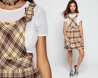 Plaid WOOL Dress 60s Mini Brown Jumper OVERALL Dress Mod Lolita Pocket 1960s Preppy School Girl Vintage High Waisted Sixties Extra Small XS