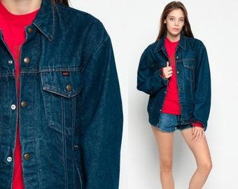Dark Denim Jacket Vintage 70s Jean BUFFALO PLAID LINING Flannel Button Up Oversized 1970s Oversize Hipster Boho Blue Coat Medium