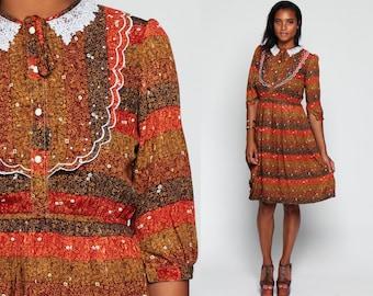 Boho Dress 70s Midi LACE COLLAR Puff Sleeve Floral Button Up 80s Vintage Orange Striped 1980s Bib Bohemian Lolita High Waisted Medium Large