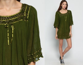 Bohemian Dress Cotton Gauze ANGEL SLEEVE Micro Mini 80s Trapeze Crochet Lace Sheer Festival Hippie Boho Olive Green xs Small Medium Large xl
