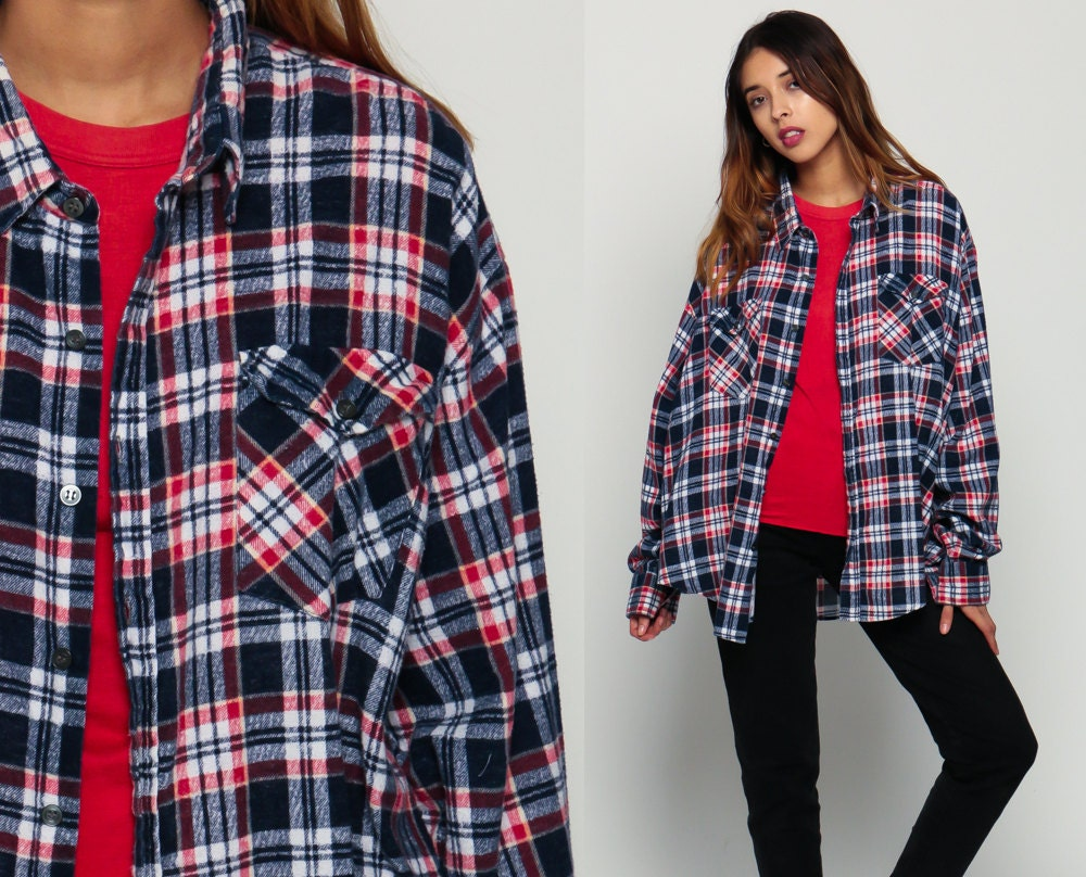Blue flannel shirt 90s plaid grunge lumberjack navy oversize for Navy blue and red flannel shirt