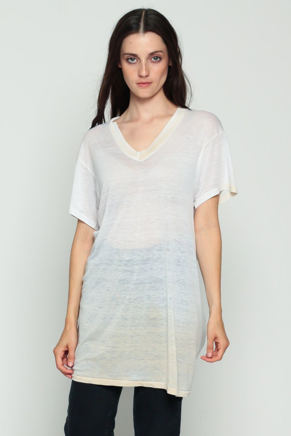 Burnout Shirt Plain Tshirt Dress Vintage White Tee Sheer V T
