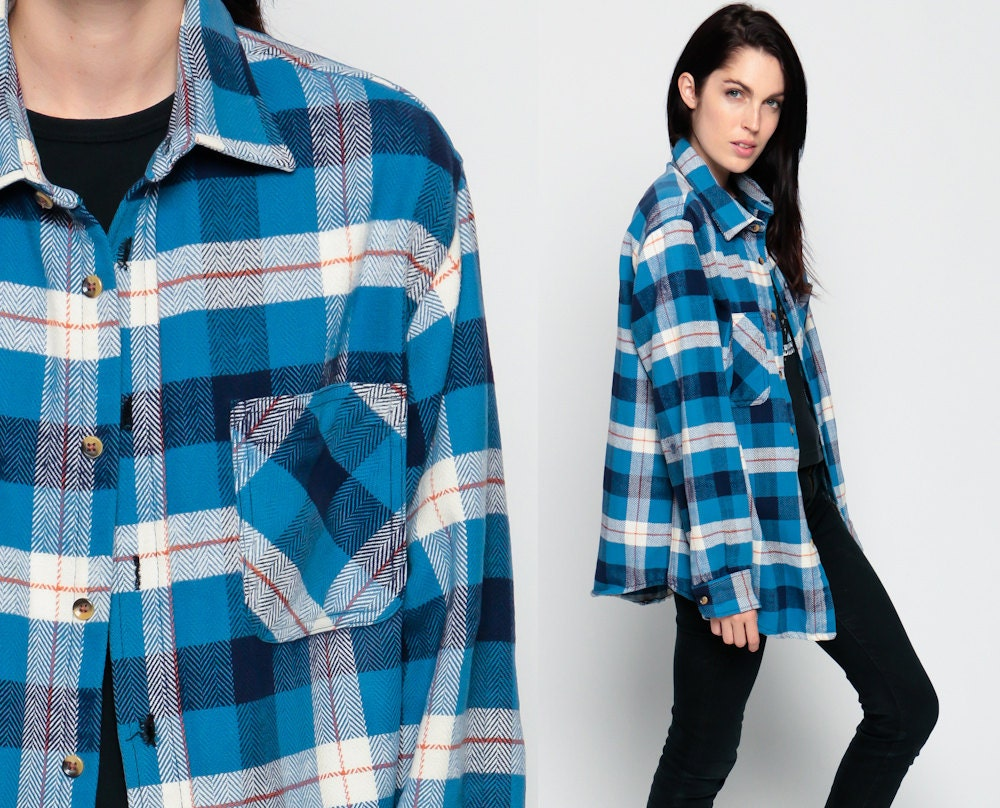 Blue flannel shirt 90s plaid grunge lumberjack navy by for Navy blue plaid shirt