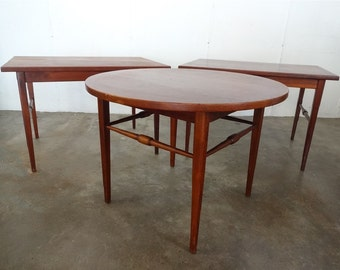 THREE Danish ROSEWOOD End TABLES