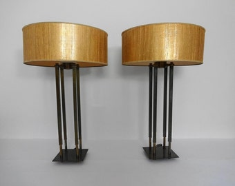 LARGE Pair of BRASS Pillar LAMPS by Stiffel