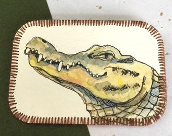 Crocodile paper brooch