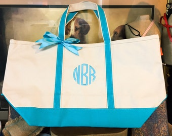 Monogrammed Canvas Tote Bag, Set of 5 Large Canvas Bridesmaid Gift Totes For Wedding Party