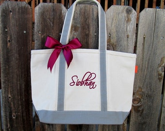 Monogrammed Bridesmaid Gift Tote, Personalized Large Canvas Boat Tote, Weekender Bag, Beach Bag