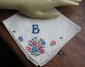 "Vintage  Blue Monogram ""B"" on White Hanky/Handkerchief.  Embroidered Focal Corner"
