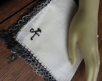 "Vintage ""K"" Monogram in dark gray  on Hanky/Handkerchief with Dark Gray Crocheted Edge."