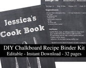 Fake Chalkboard printable recipe binder kit editable planner instant download recipe book DIY recipe organizer PDF