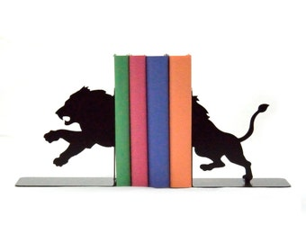 Lion Metal Art Bookends - Free USA Shipping