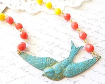 Verdigris Sparrow Necklace - Vintage Cubic Zirconia Beaded Necklace - Glass Beaded Necklace - Bird - Swallow Necklace - Woodland