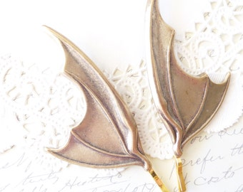 Ox Brass Bat Wing Hair Pins - Bat Wing Bobby Pins - Bat Wing Hair Accessories - Gothic - Vampire Bat Wings - Batman - Batwoman