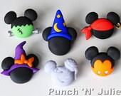 Mickey and Minnie Halloween Hats - Disney Wizard Witch Pirate Vampire Frankenstein Mummy Dress It Up Craft Buttons