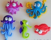 Creatures of the Sea - Ocean Sealife Octopus Fish Seahorse Dress It Up Craft Buttons
