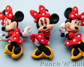 MINNIE MOUSE - Disney Children Girl Polka Dot Dress It Up Craft Buttons