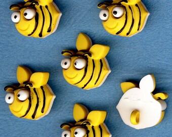 BUG EYED BEE Honey Bumble Yellow Summer Garden Novelty Dress It Up Craft Buttons