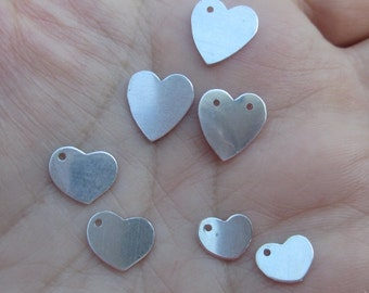 Sterling Silver Tiny Heart Stamping 8mm or 9.5mm(2 hearts)