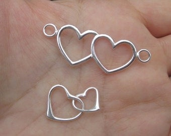 Sterling Silver Double Heart Link or Floating Hearts Charm