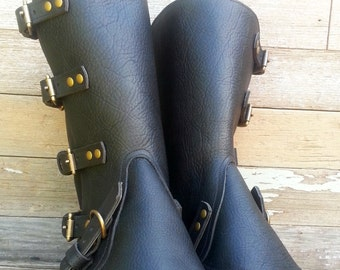 Taller Swiss Military Style Gaiters or Spats in Oiled Black Leather w Antiqued Brass Hardware