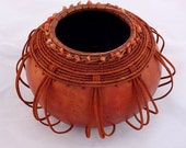 Orange gourd bowl with leather -  Item 728 by Susan Ashley