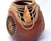 Tan Gourd with Teneriffe and Coiling -Item 641 by Susan Ashley