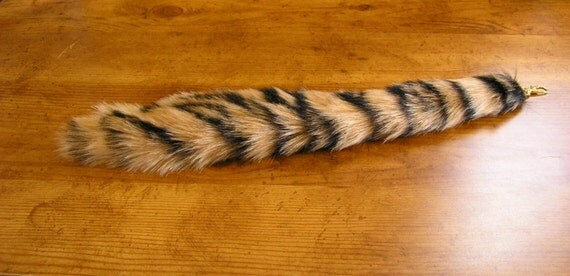 Tiger tail costume clip on tail faux fur tail by EnchantedLeather u2013 Etsy & Tiger tail costume clip on tail faux fur tail by EnchantedLeather ...