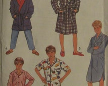 Simplicity 8327/Uncut Vintage Sewing Pattern/Boys Pajamas, Nightshirt, Robe/Size Large/Size 12/Chest 30 in/1987