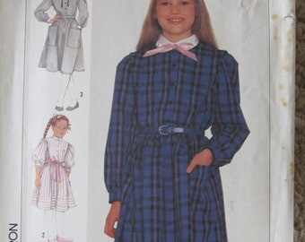 Simplicity 7110 Vintage Sewing Pattern for Girls 1985 Size 10 Dress Front Button Elastic Waist Long/Short Sleeves