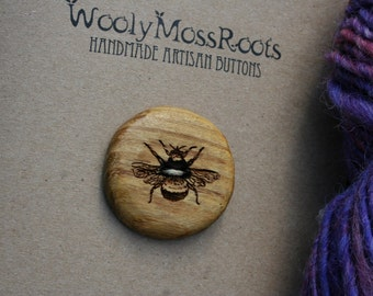 Large Yellow Honeybee Button- Oregon Osage Orange Wood- Handmade Wooden Buttons- Knitting, Sewing, Craft Buttons
