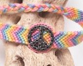 Peace sign friendship bracelet in pastel colors