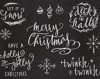 Hand-Lettered Christmas Holiday PNG Overlay Words and Sayings with Bonus Drawings - Transparent Photoshop and PNG Files