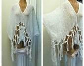 Macrame Fringe Kimono Crop Caftan Cover Up Bohemian Boho Clothing Tribal Tassel Beach Spa White One Plus Size Cotton Hippie