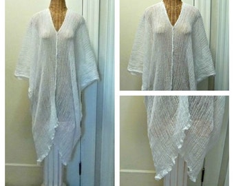 White Caftan Cover Up Swimwear Kimono Kaftan Goddess Beach Spa One Size Cotton Robe By SavoyFaire