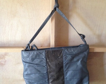 Grey Leather 80s purse